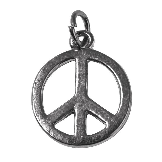 Pendentif argenté vieilli peace and love Ø 16 mm