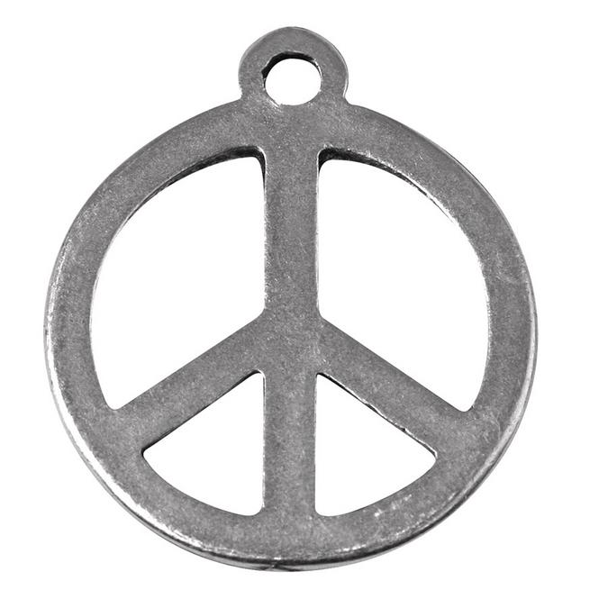 Pendentif argenté vieilli peace and love Ø 24 mm