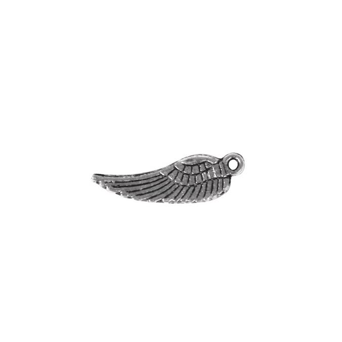 Pendentif Aile d'ange argenté vieilli L. 15 mm