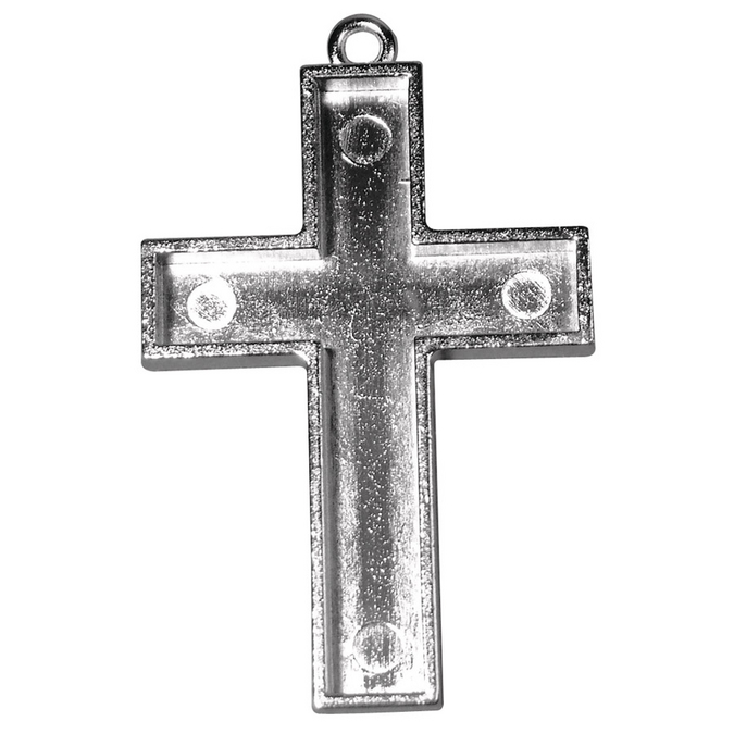 Pendentif croix argenté vieilli à coller 38 x 28 mm