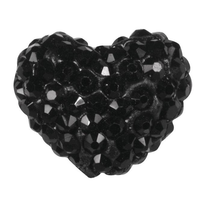 Perle Shamballa cœur 1,6 x 1,2 cm noir