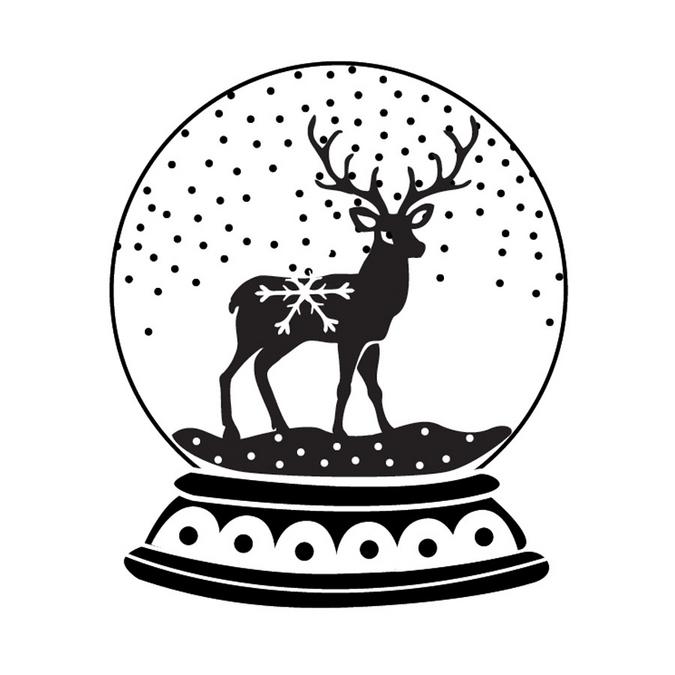 Tampon en bois boule à neige cerf 6 x 6 x 2,8 cm