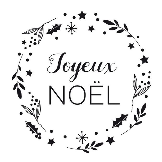 Tampon en bois joyeux Noël couronne 6 x 6 x 2,8 cm