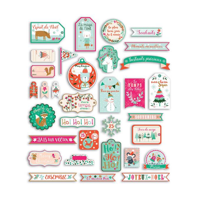 Mots découpés en papier - Noël en Forêt - 33 pcs