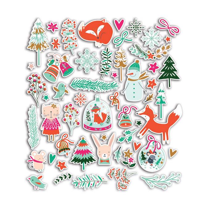 Mots découpés en papier - Noël en Forêt - 76 formes découpées