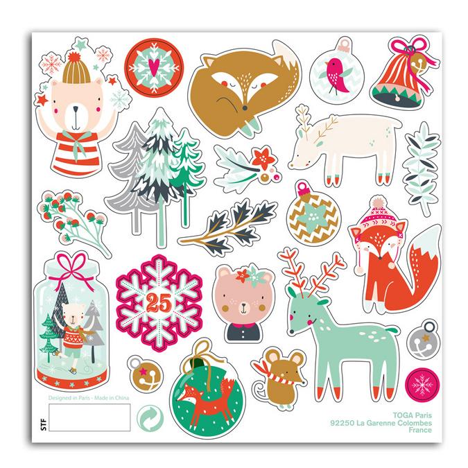 Stickers puffy Noël en forêt 15 x 15 cm