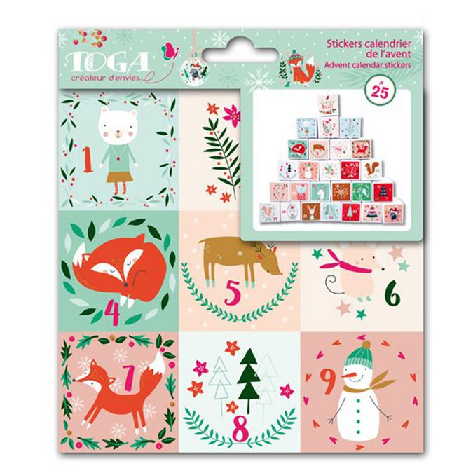 Stickers de l'Avent Noël en forêt 15 x 15 cm