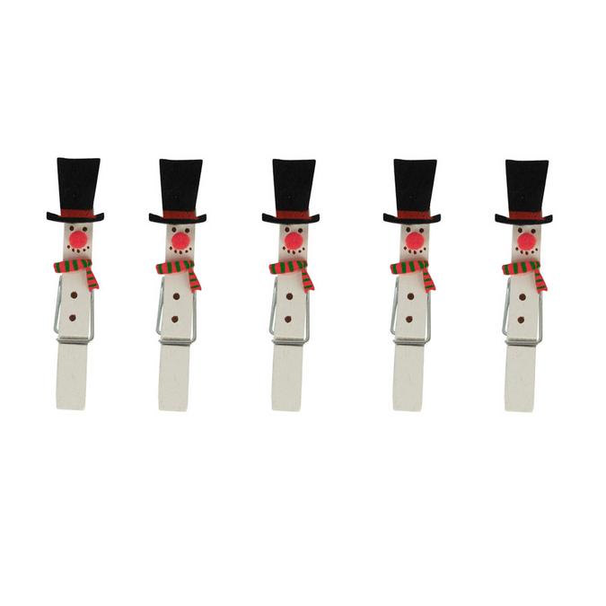 Pinces à linge décoratives bonhomme de neige - 5 pces
