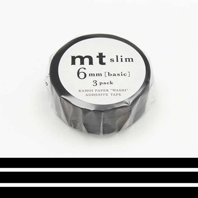 rubans d coratifs adh sifs fins uni noir mat 0 6 mm set de 3 masking tape mt chez rougier. Black Bedroom Furniture Sets. Home Design Ideas