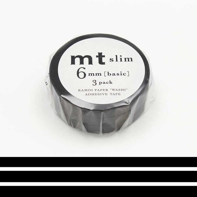 Rubans décoratifs adhésifs fins - Uni noir mat - 0,6 mm - Set de 3
