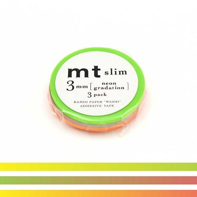 Rubans décoratifs adhésifs fins - Dégradé Néon - 0,3 mm - Set de 3