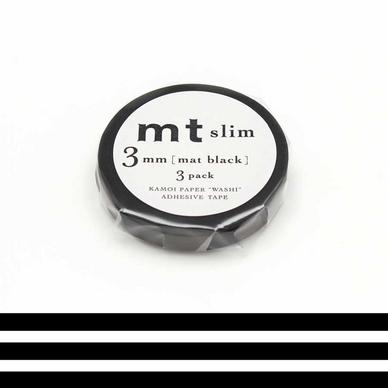 rubans d coratifs adh sifs extra fins uni noir mat 0 3 mm set de 3 masking tape mt chez. Black Bedroom Furniture Sets. Home Design Ideas