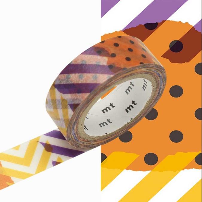Ruban décoratif adhésif - Méli-Mélo aux couleurs d'Halloween - 1,5 cm x 7 m