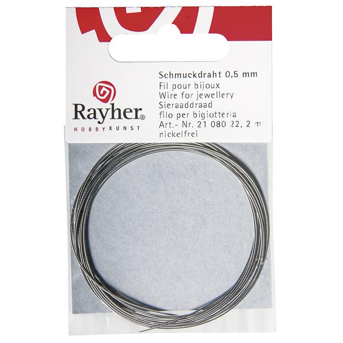 Fil cable argenté Ø 0,5 mm x 2 m