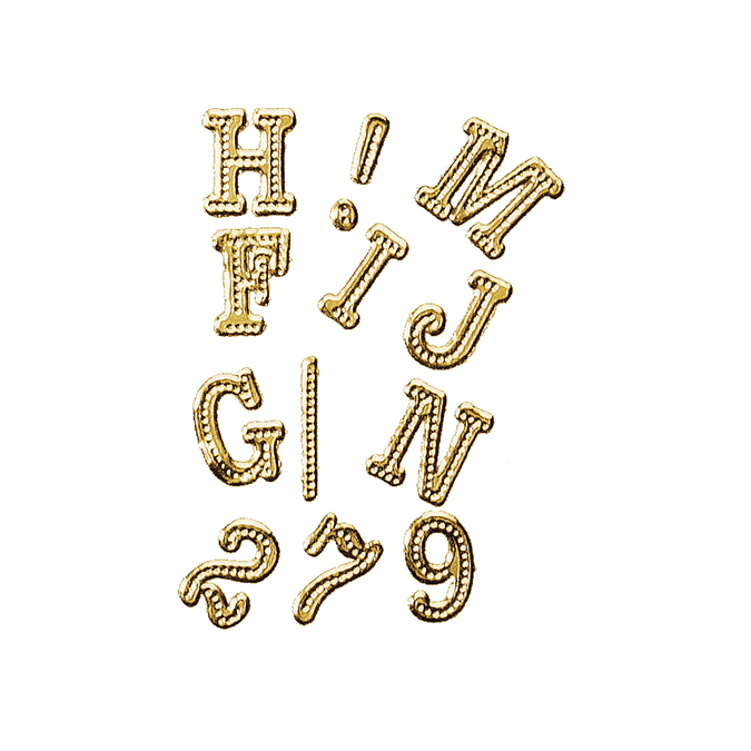 Stickers chiffres et lettres or