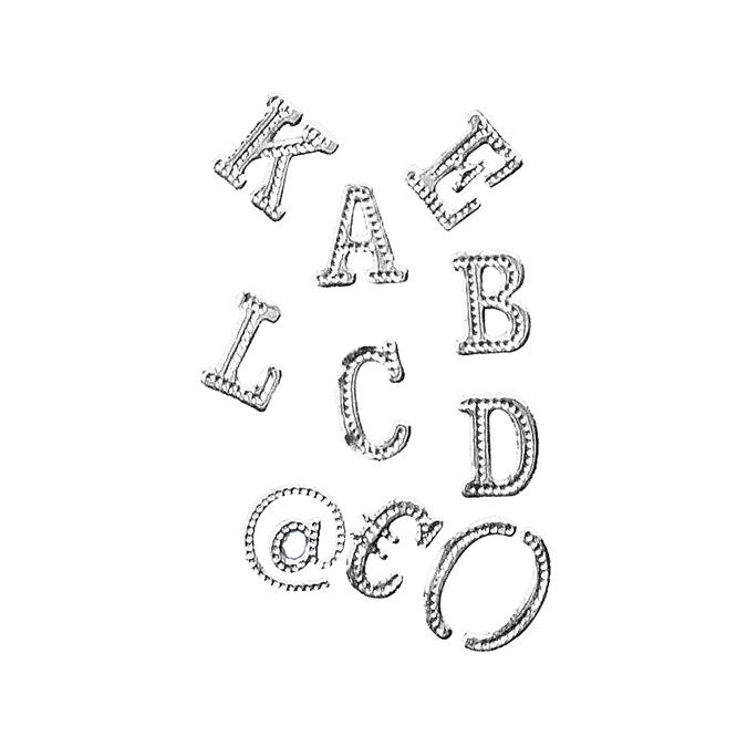 Stickers chiffres et lettres argent