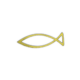 Stickers poisson religieux or