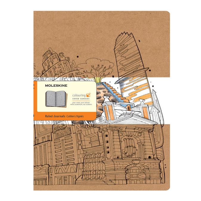 Cahier Color Book XL - Couverture à colorier - Page kraft ligné - 19 x 25 cm par 2