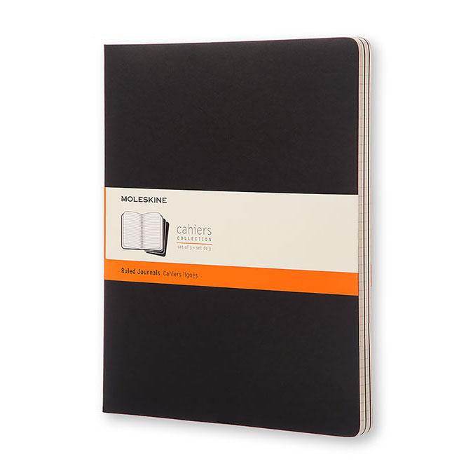 Cahier de note XXL - Couverture noire - Page lignée - 21,6 x 27,9 cm par 3