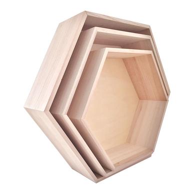 etag re en bois hexagonale 3 formats 39 cm 30 cm graine cr ative chez rougier pl. Black Bedroom Furniture Sets. Home Design Ideas