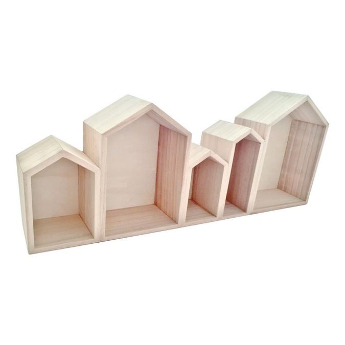 Etagère en bois bloc de 5 maisons 50,3 x 8 x 20 cm