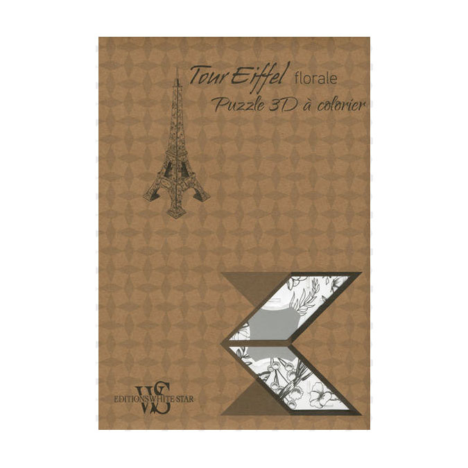 Puzzle 3D à colorier - Tour Eiffel florale