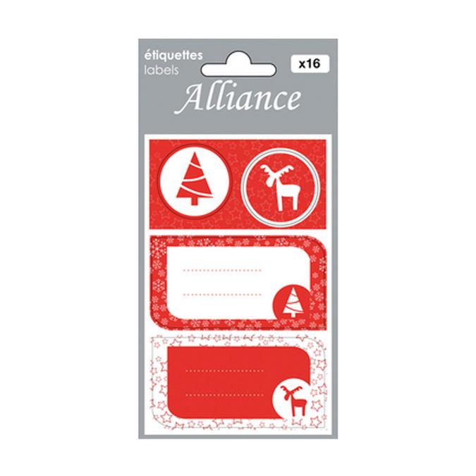 Etiquettes cadeaux Alliance Noël scandinave x 16 pcs