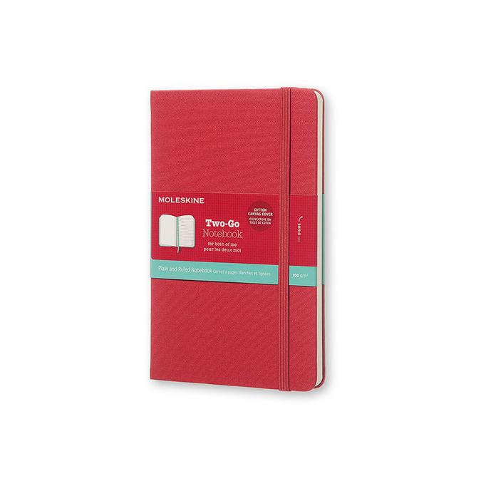 Carnet ligné Two-Go 11,5 x 18 cm - couverture toilé rouge framboise