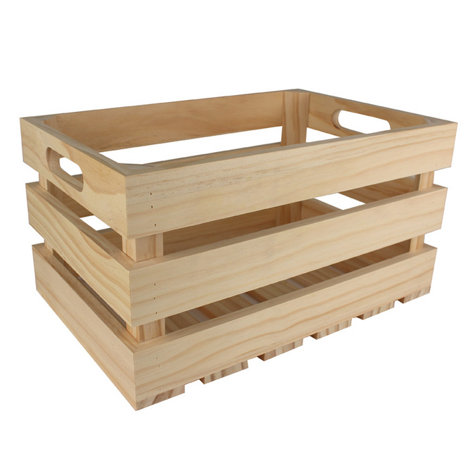 Caisse de rangement vintage en bois - 35 x 25 x 19,5 cm