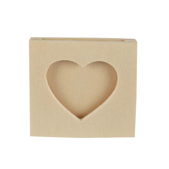 Pince cadre photos cœur en bois 4,3 x 4,3 cm - 4 pcs