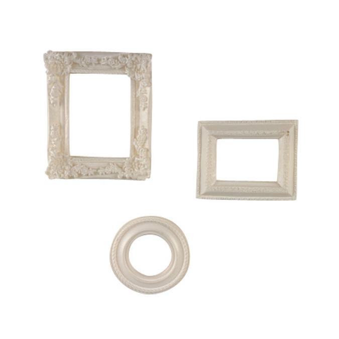 Mini cadres en résine blanche - de 4 à 6 cm - 3 pcs
