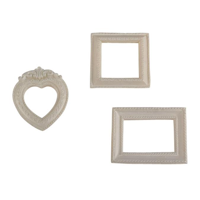 Mini cadres en résine blanche - de 4 à 5,5 cm - 3 pcs