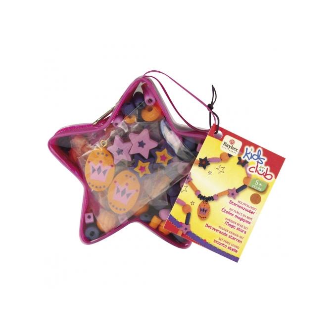 Kit perles en bois étoiles magiques orange