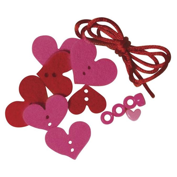 Kit bracelet en feutrine rose et rouge