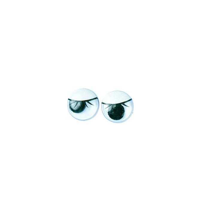 Yeux ovales avec cils et pupilles mobiles 10 mm