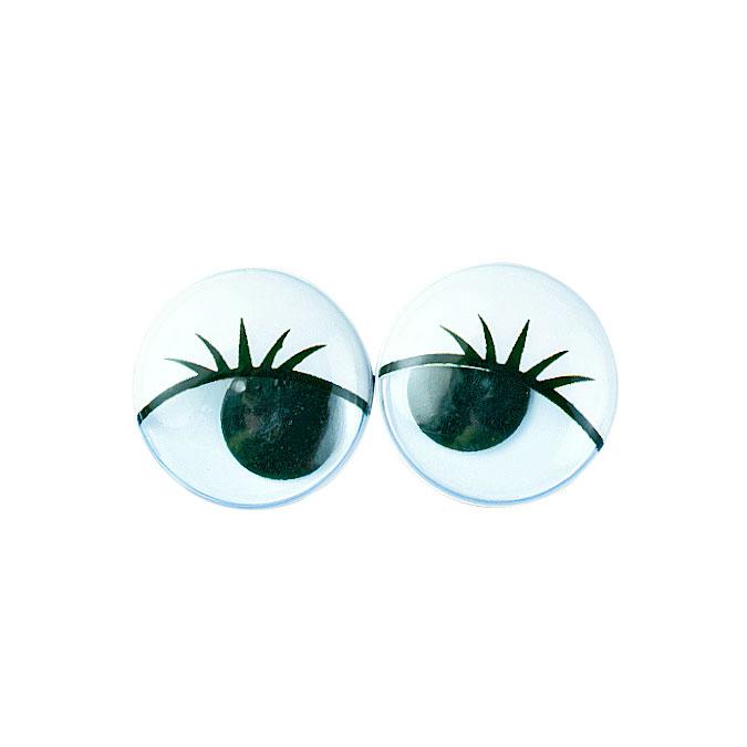 Yeux ronds avec cils et pupilles mobiles 20 mm