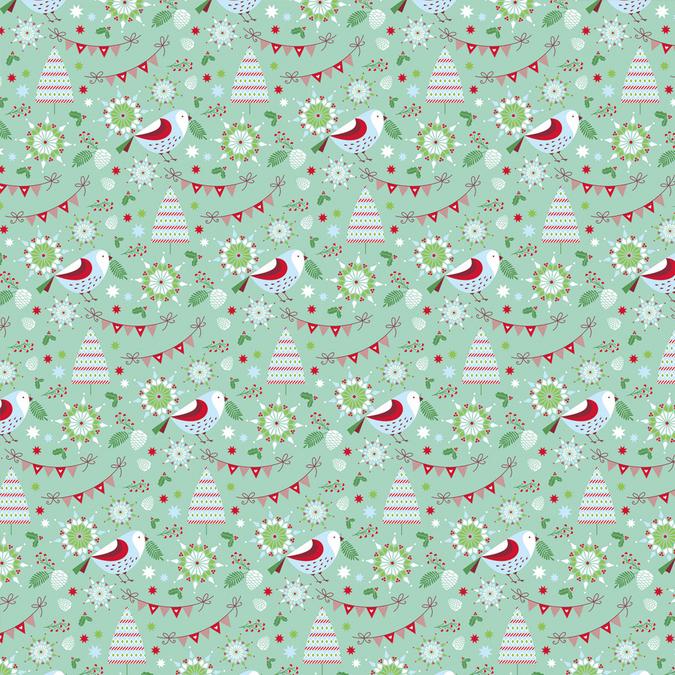 Papier Noël Classique oiseaux