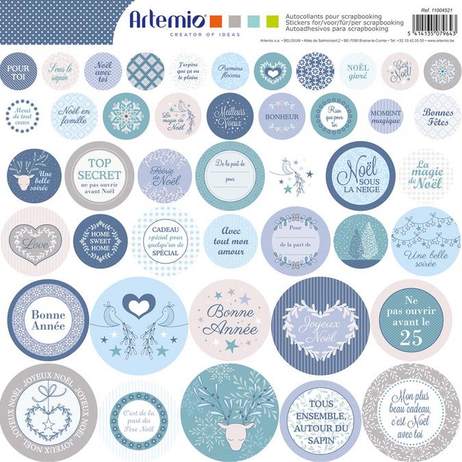 Stickers ronds Noël Givré 12 x 12