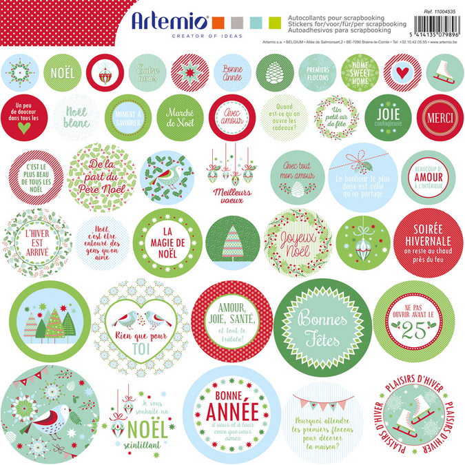 Stickers ronds Noël Classique 12 x 12