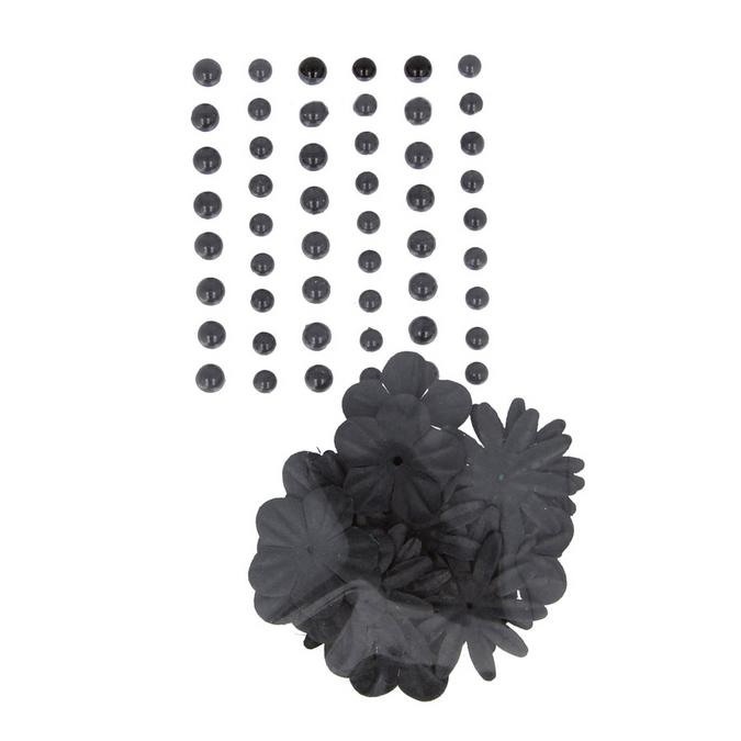 Perles autocollantes + fleurs en papier black