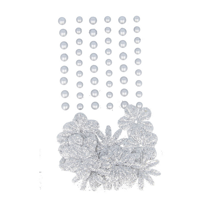 Perles autocollantes + fleurs en papier silver