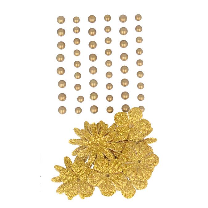 Perles autocollantes + fleurs en papier gold