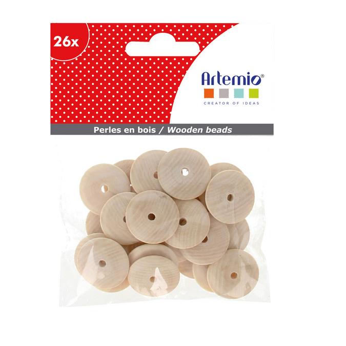 Perles rondelles en bois 2 x 2 cm - 26 pcs