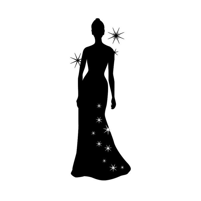 Tampon robe de soirée en bois 3,7 x 7,4 cm