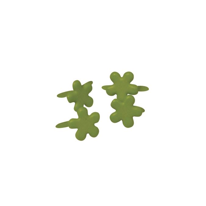 Attaches parisiennes fleurs vertes 7 mm