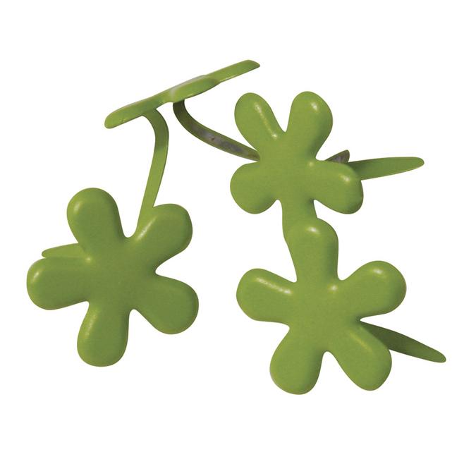 Attaches parisiennes fleurs vertes 14 mm