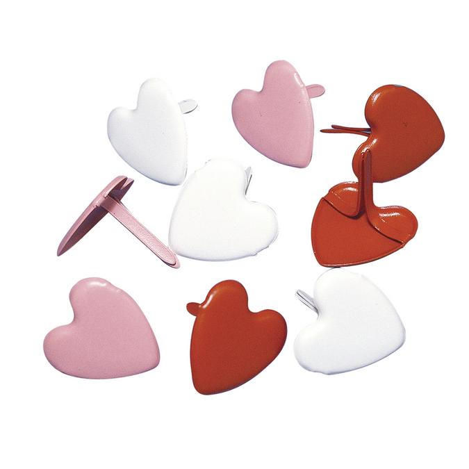 Attaches parisiennes cœurs rouges 12 mm