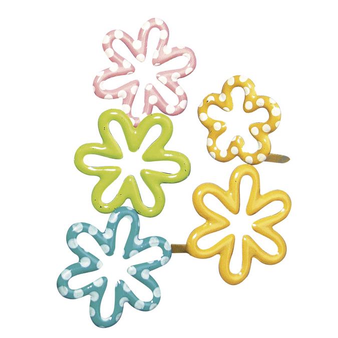 Attaches parisiennes fleurs assorties 1,5 cm