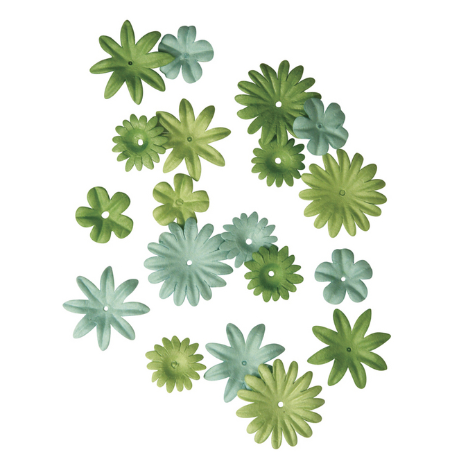 Ass. De fleurs en papier vert moyen 1,5 à 2,5 cm
