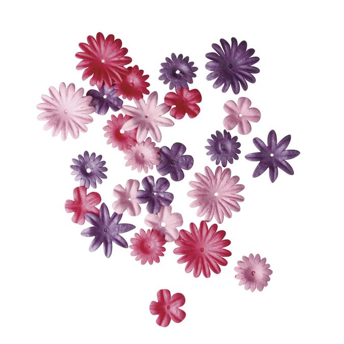 Ass. De fleurs en papier rose foncé 1,5 à 2,5 cm